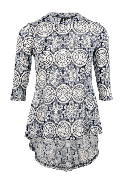 Lace Print Peplum Top - Izabel London
