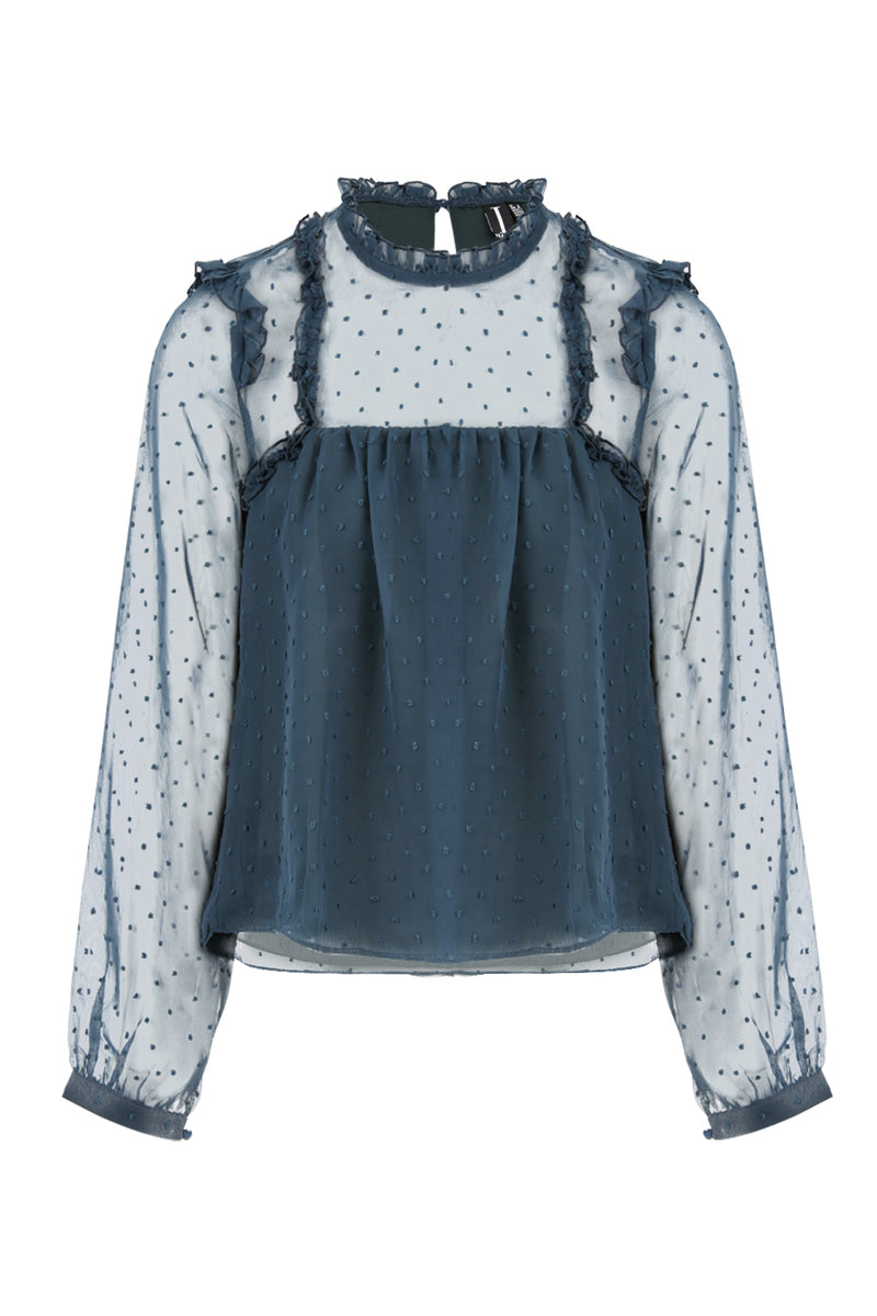 Blue | Frill Detail Dobby Blouse | Izabel London