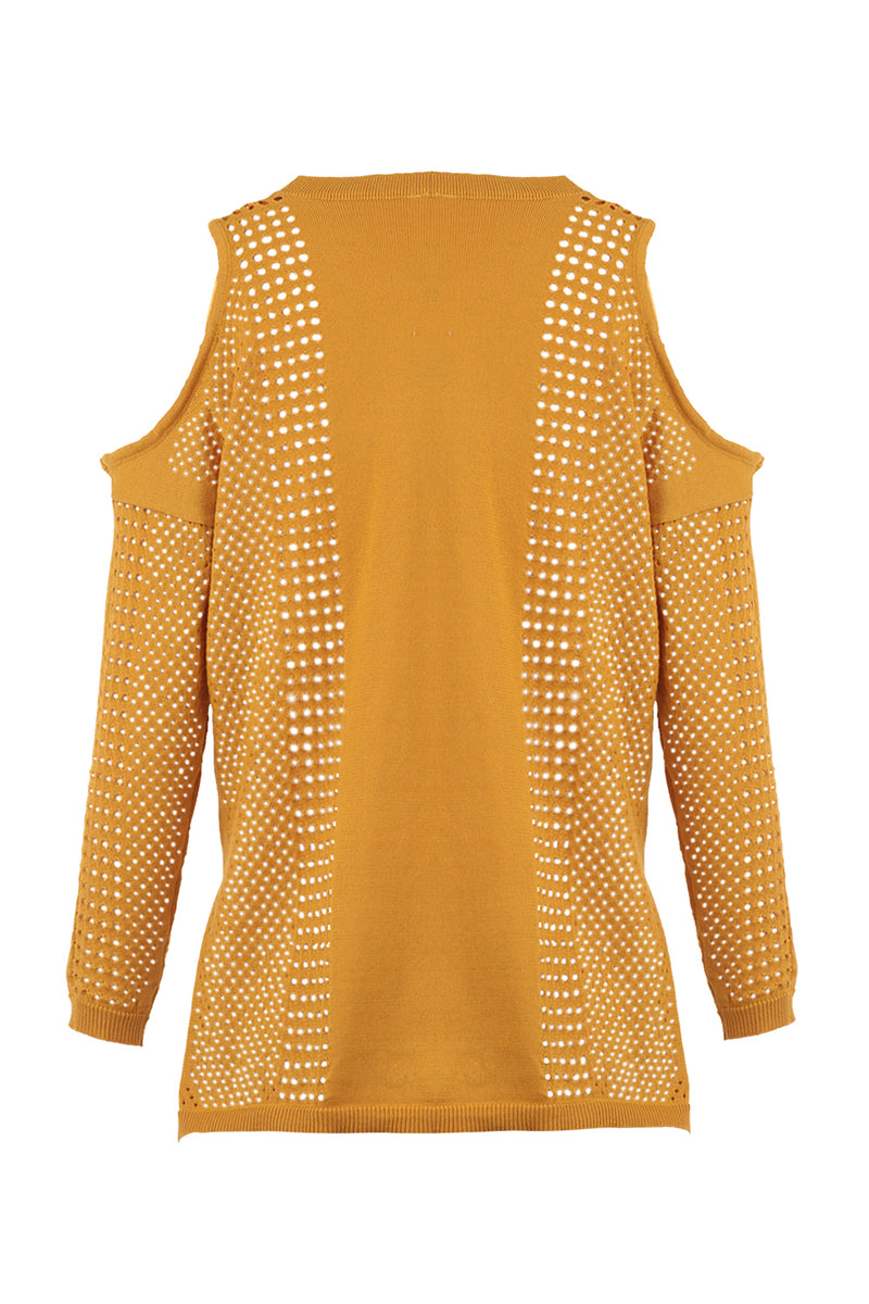 Yellow | Cold Shoulder Cut-Out Top