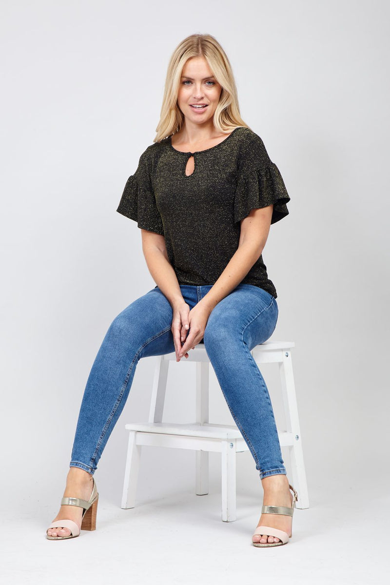 Gold | Frill Sleeve Knit Top