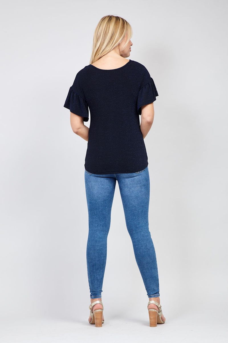 Navy | Frill Sleeve Knit Top