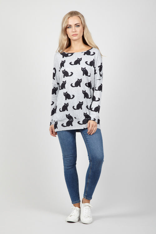 Cat Print Jumper - Izabel London