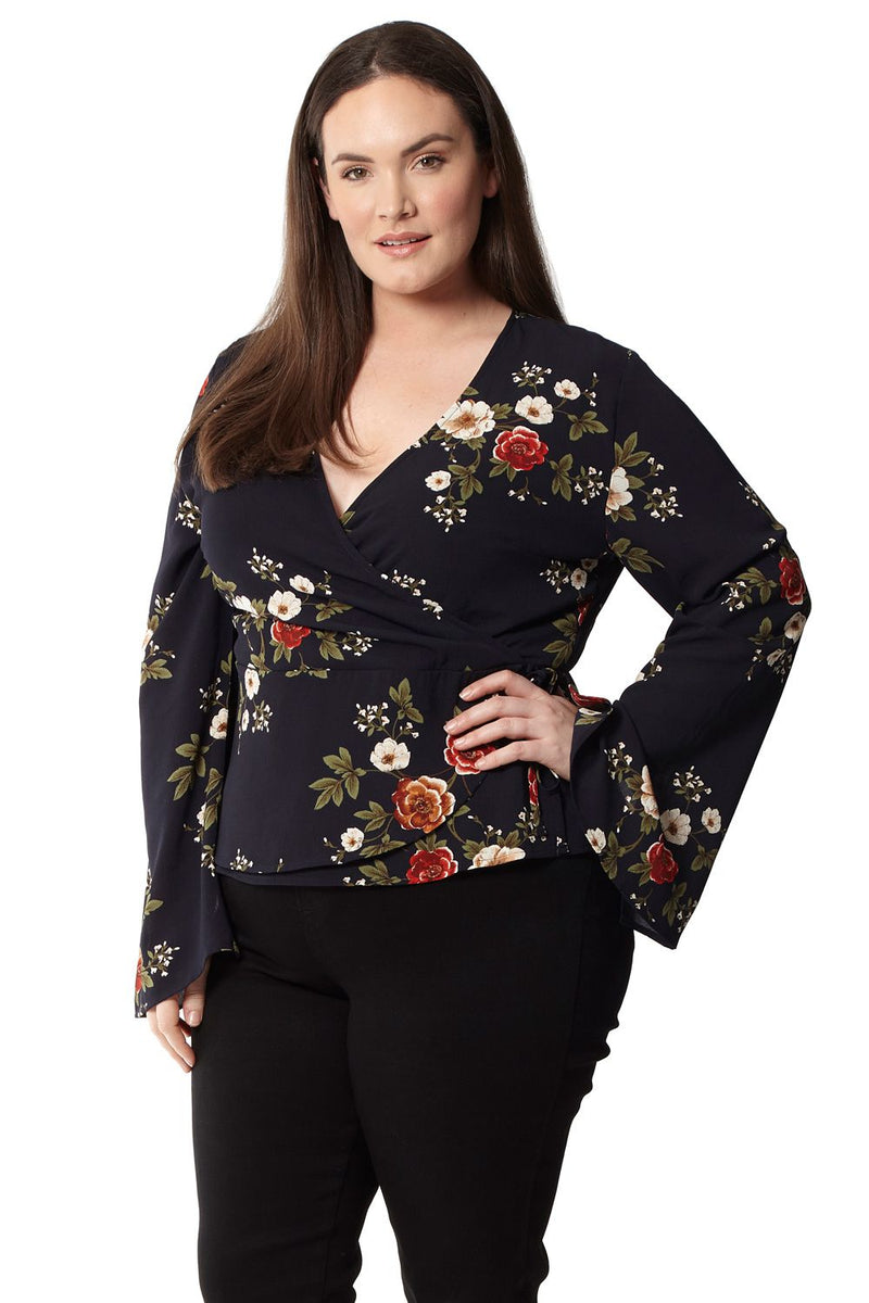 Plus Size Floral Wrap Top - Izabel London