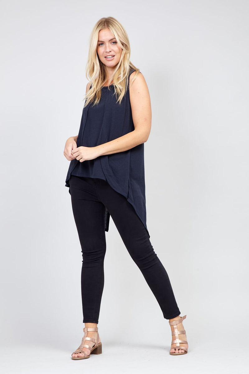 Navy | High Low Shell Top