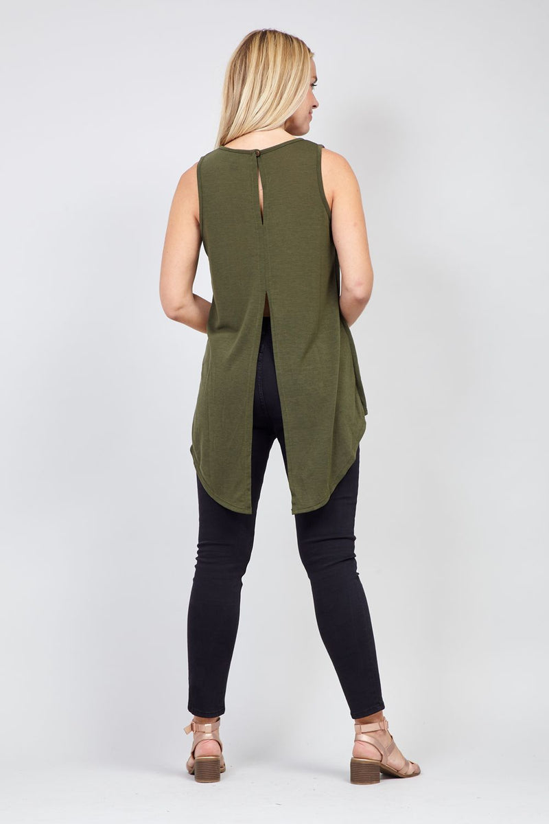 Khaki | High Low Shell Top
