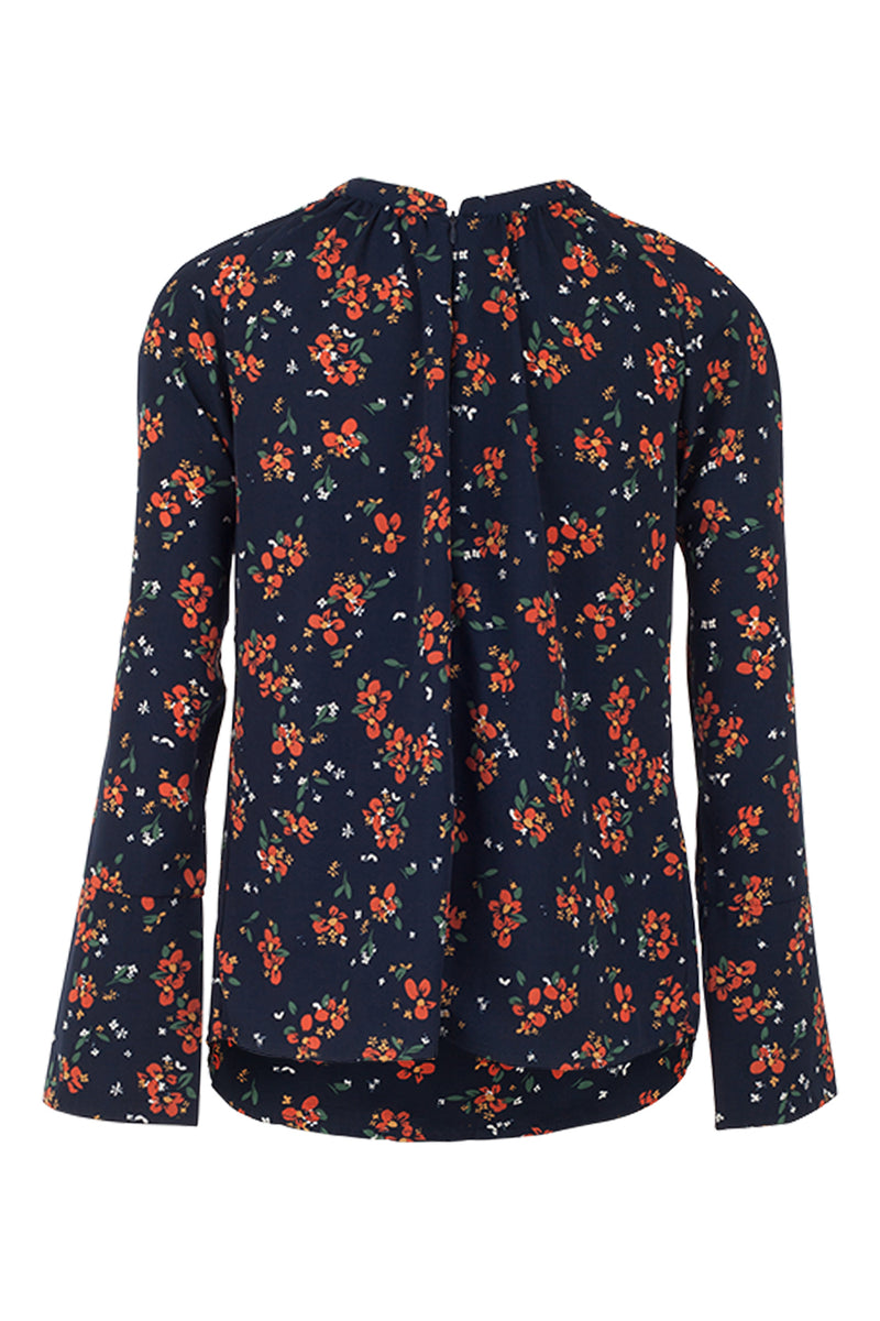 Floral Flare Sleeve Blouse - Izabel London