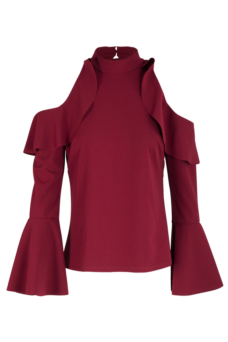 Red | Ruffled Cold Shoulder Top