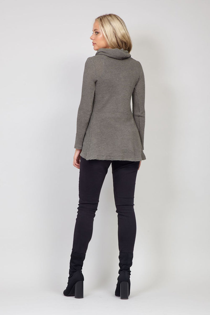 Khaki | Knitted Roll Neck Top