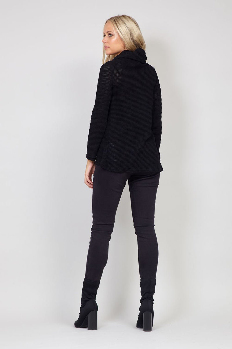 Black | Knitted Roll Neck Top