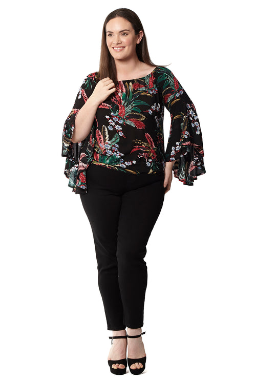 Curve Floral Flute Sleeve Top - Izabel London