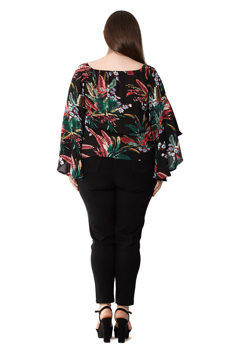 4751f97a95 Curve Floral Flute Sleeve Top - Izabel London
