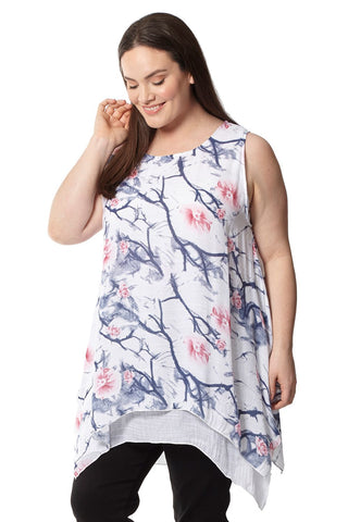 Curve Leaf Cold Shoulder Top