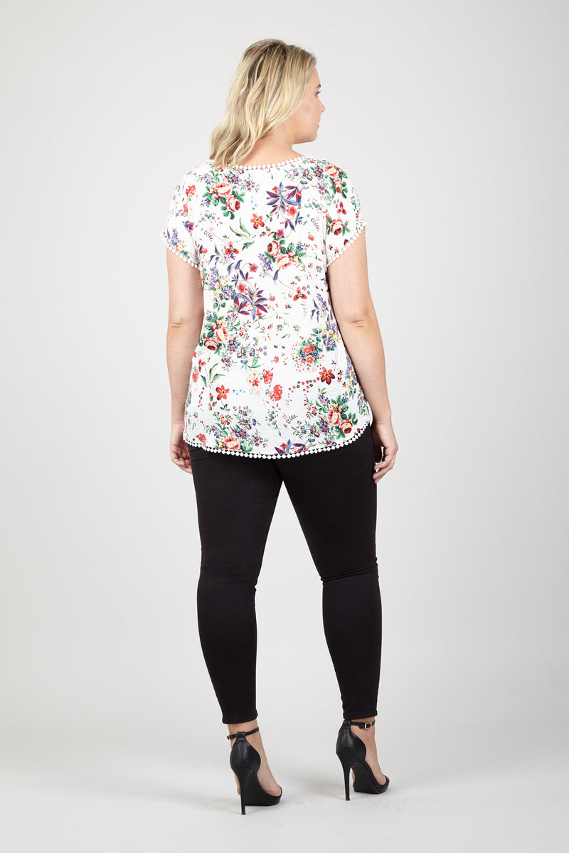 White | Curve Floral Curved Hem Tee
