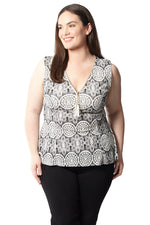 Curve Sleeveless Printed Top - Izabel London