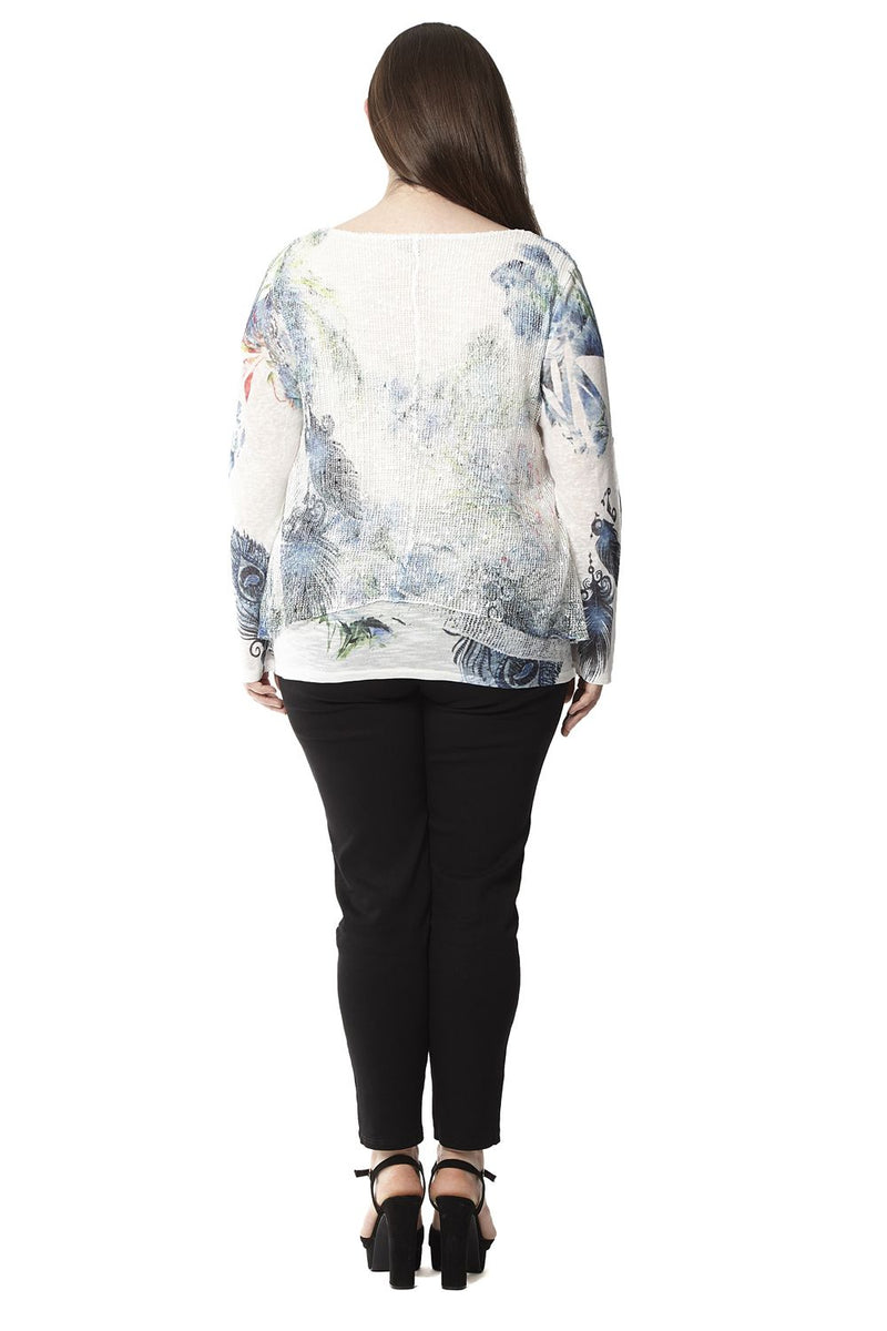 White | Plus Size Sequin Layer Top
