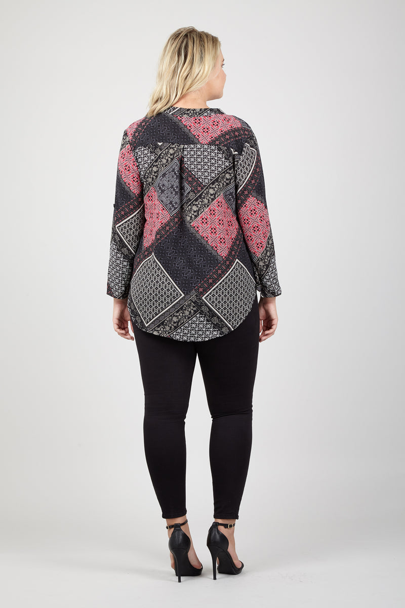 Black | Curve Patchwork Tunic Top