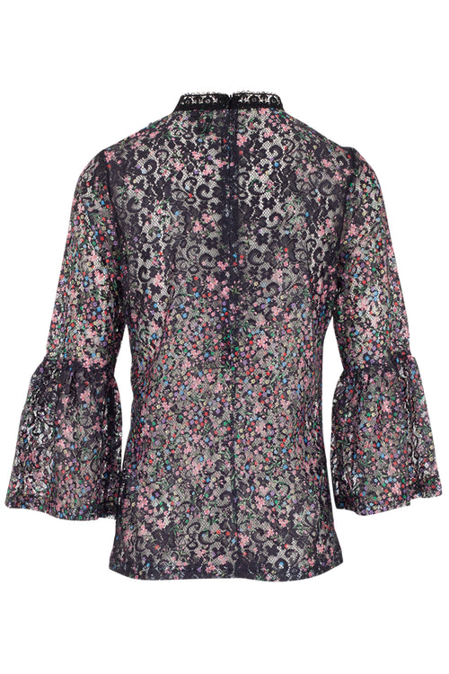 Sheer Embroidered Floral Shirt - Izabel London