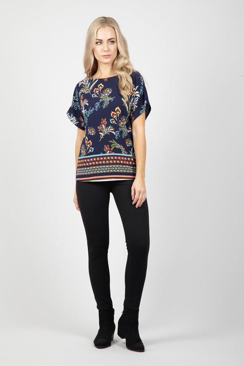 Floral & Aztec Top - Izabel London