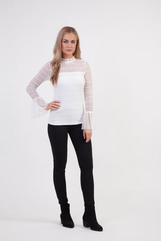 Curve Mosaic Zip Neck Top
