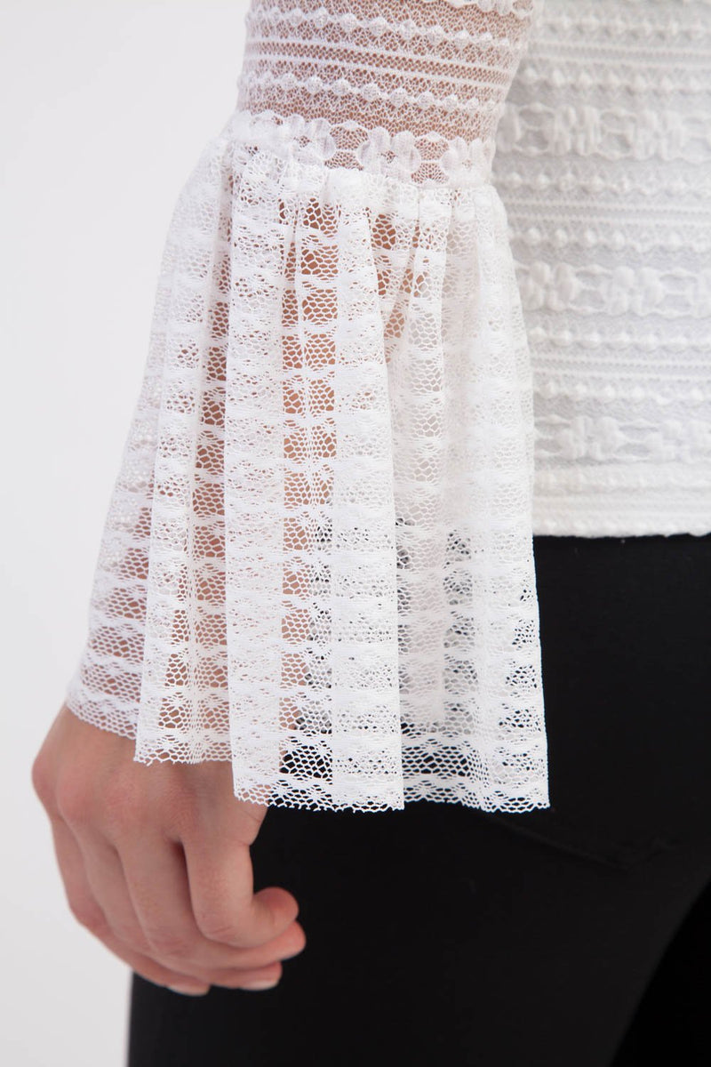 White | High Neck Lace Blouse