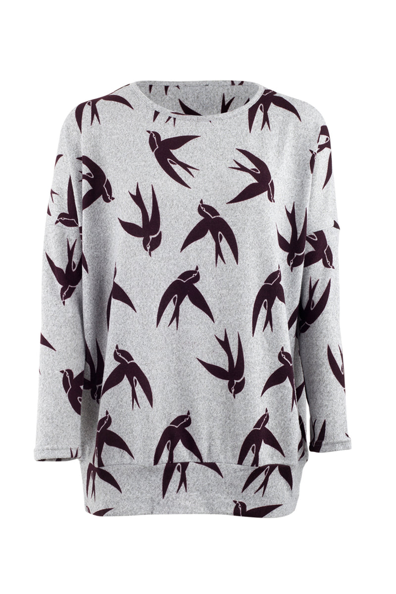 Swallow Print Jumper - Izabel London