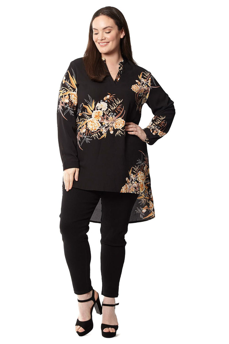 Black | Plus Size Floral Tunic Top