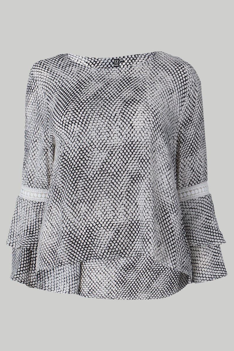 Black And White | Plus Size Snake Print Blouse