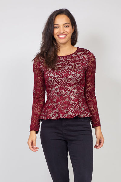 Red | Lace Peplum Top