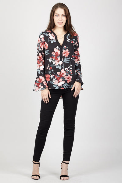 Floral Flute Sleeve Blouse - Izabel London
