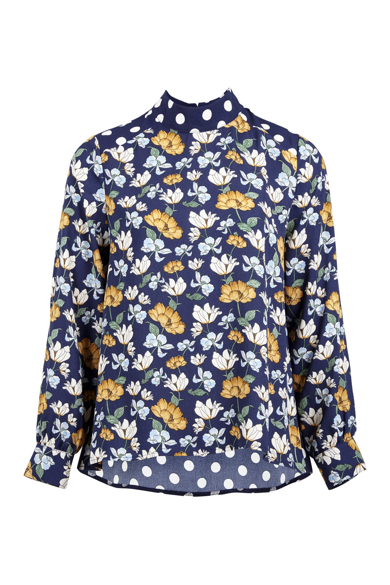 Navy | Floral & Dot Blouse