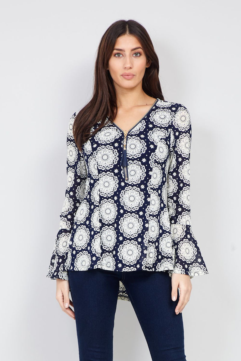 Blue | Tribal Print Zip Front Top