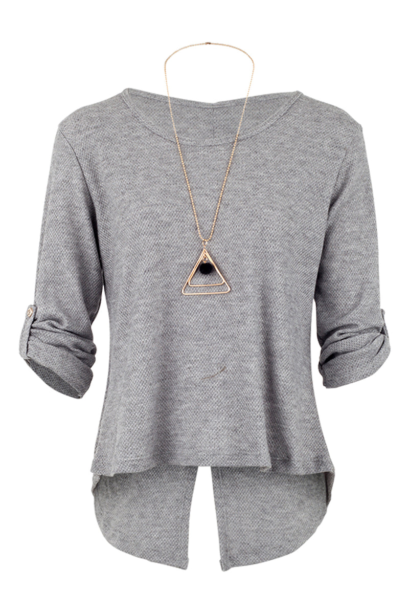 Grey | Top With Necklace | Izabel London