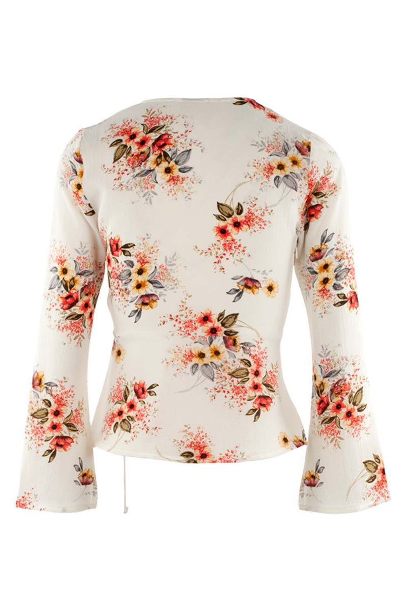 White | Floral Wrap Top