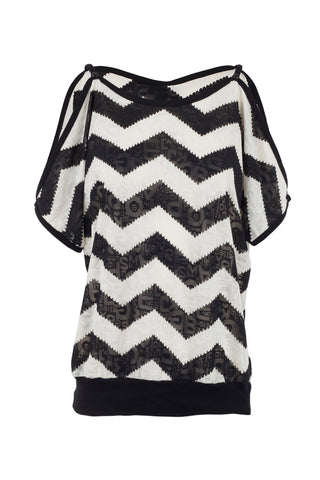 Aztec Print Batwing Cold Shoulder Top