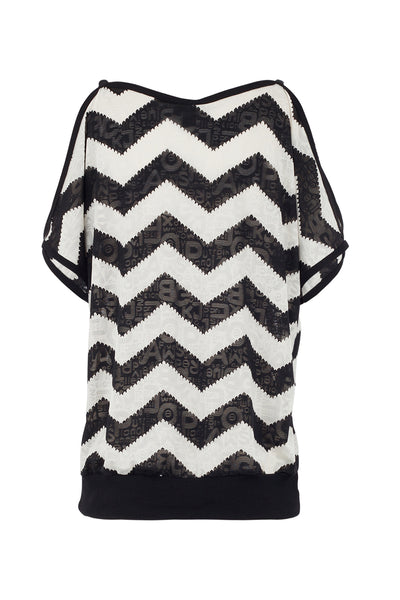 Aztec Stripe Cold Shoulder Top - Izabel London