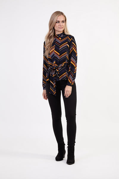 Geo Tie Waist Top - Izabel London