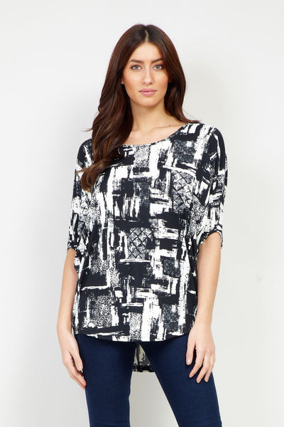 Patchwork Curved Hem Top - Izabel London