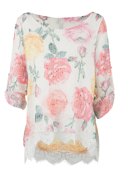 Flower & Lace Top - Izabel London