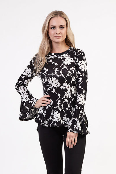 Floral Peplum Top - Izabel London