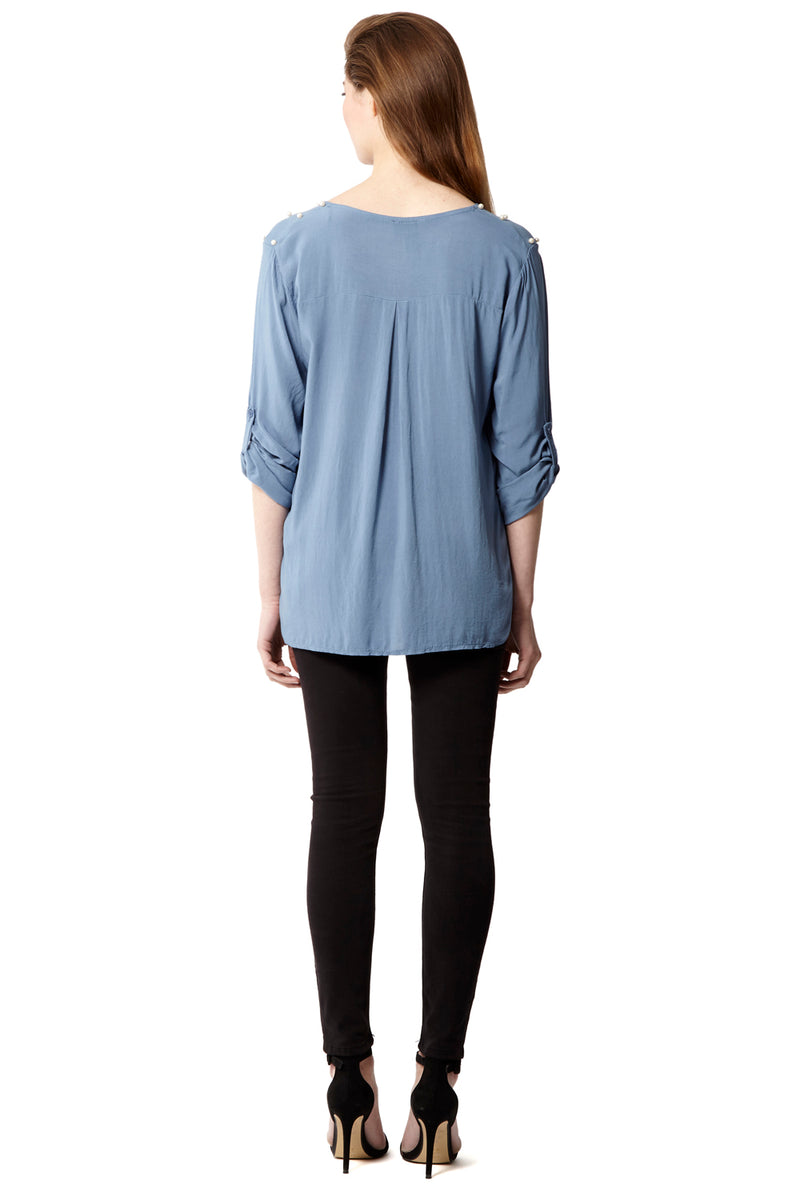 Blue | Tencel And Pearl Blouse