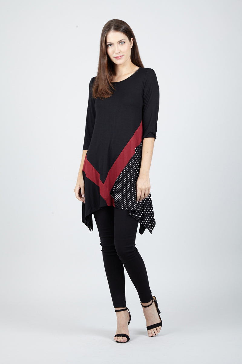 Black | Printed Hem Tunic Top