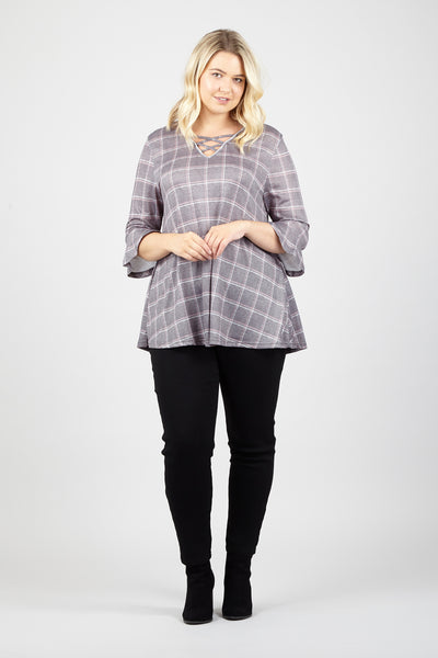 Curve Checked Swing Top - Izabel London