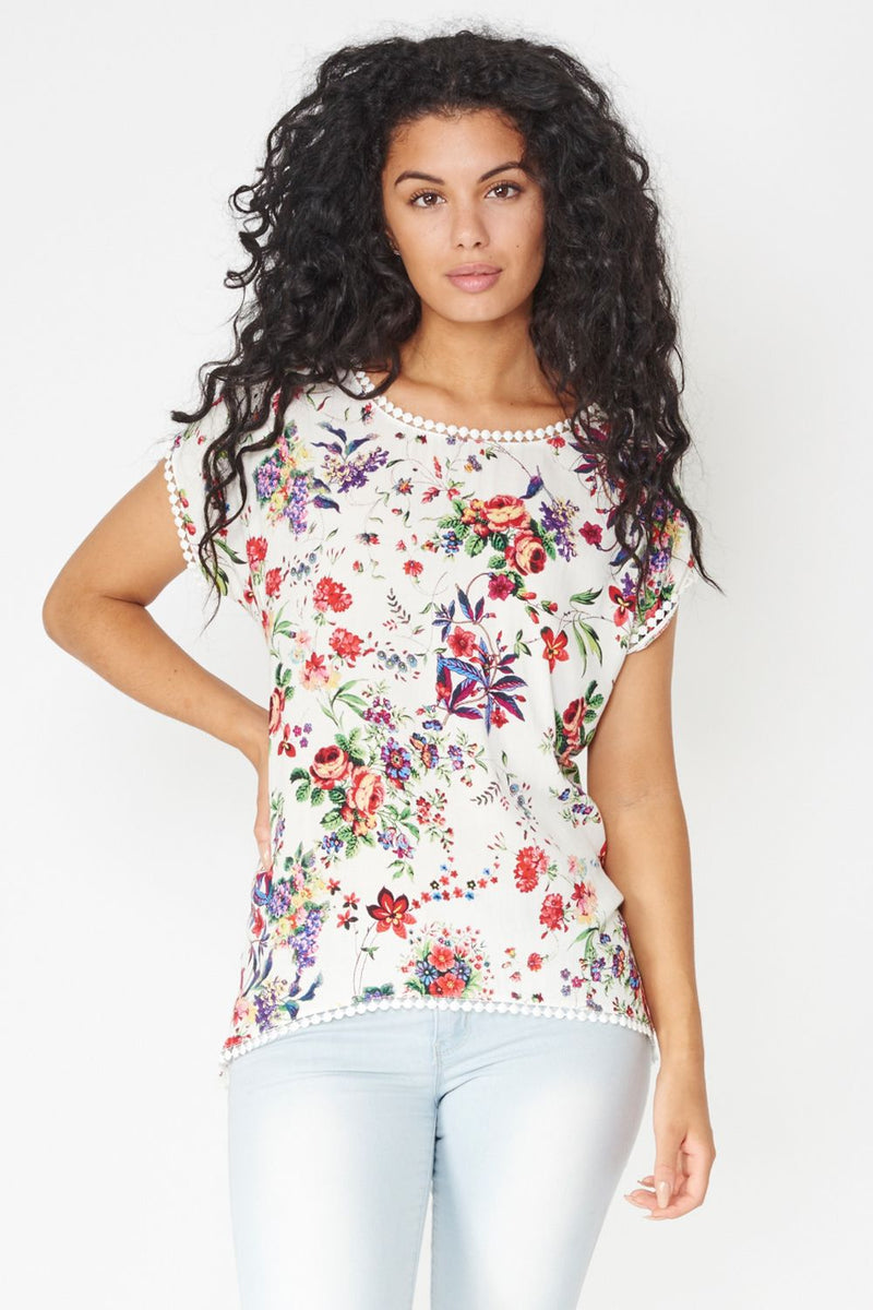 White | Floral Embroidered Tee
