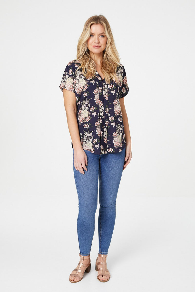 Navy | Floral Short Sleeve Blouse