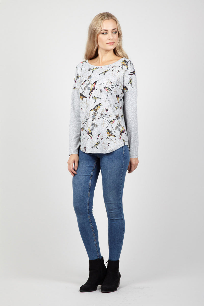 Grey | Bird Print Jumper | Izabel London