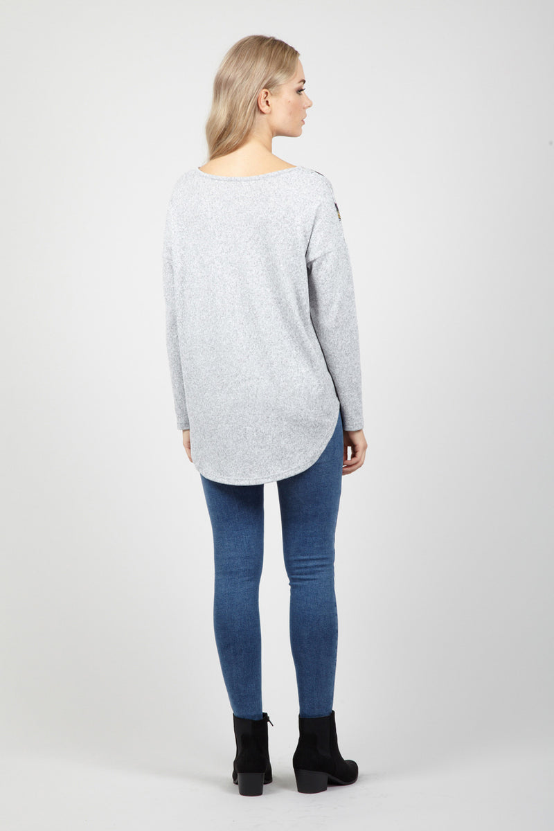 Grey | Bird Print Jumper