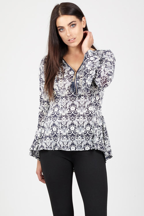 Paisley zip Neck Top - Izabel London
