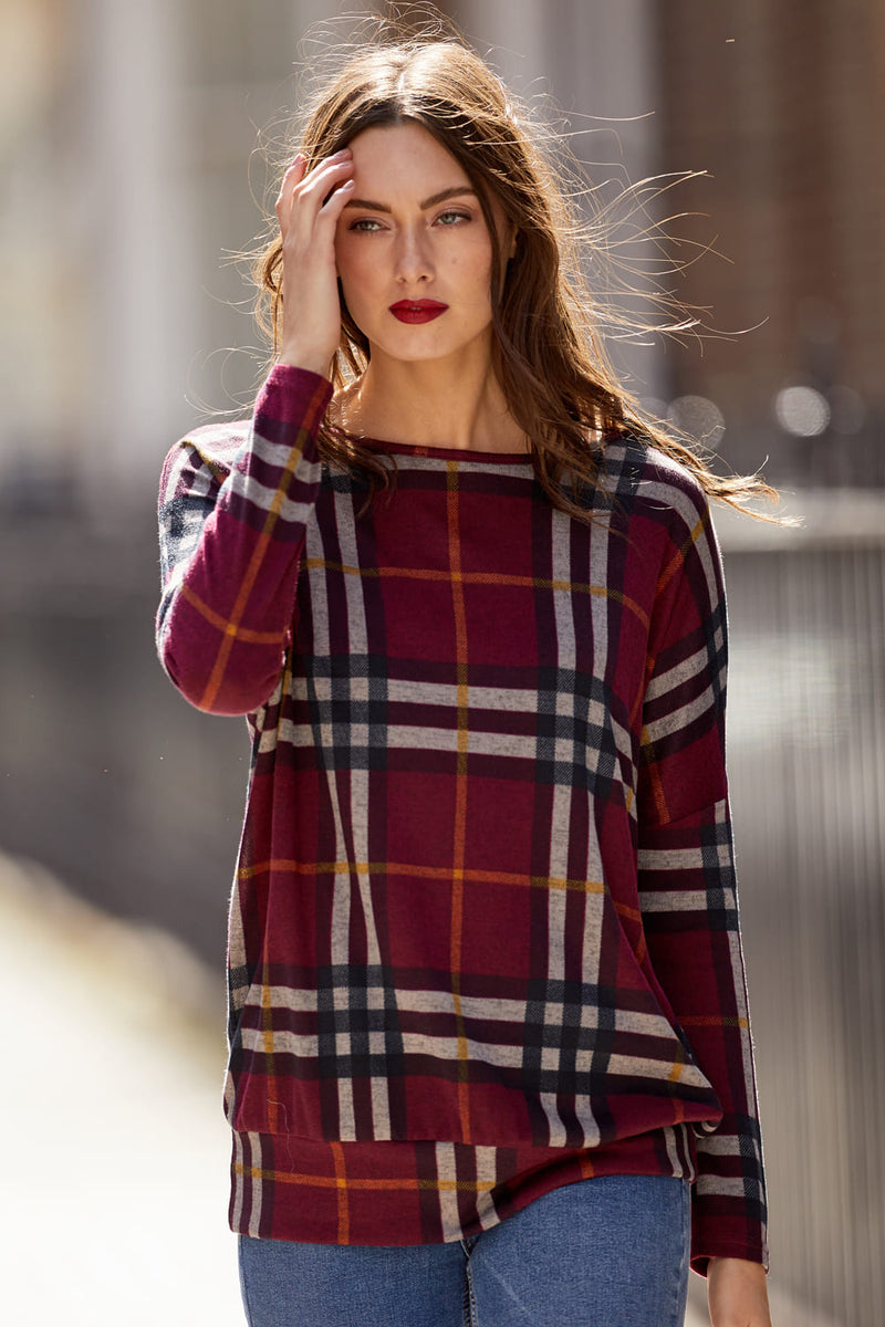 Checked Knit Top - Izabel London