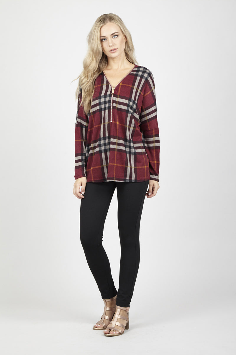 Red | Oversized Checked Zip Top