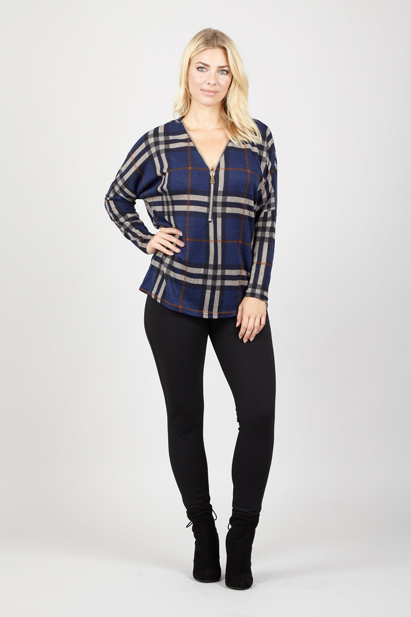 Navy | Oversized Checked Zip Top